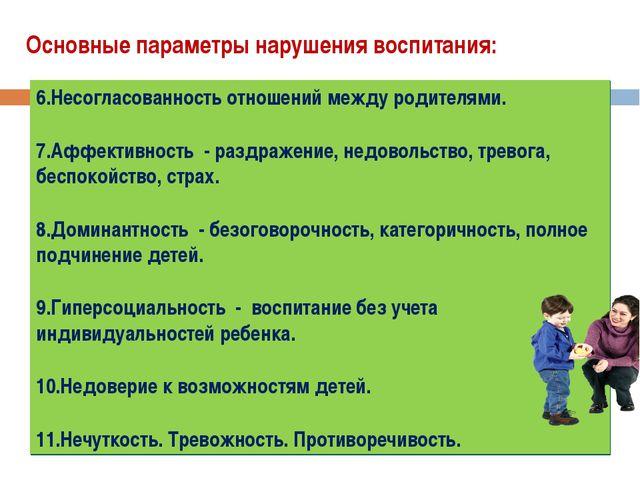 Основные параметры нарушения воспитания: Непонимание своеобразия внутреннего...