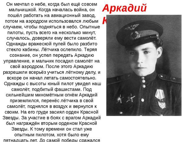 Аркадий Каманин Он мечтал о небе, когда был ещё совсем мальчишкой. Когда нача...