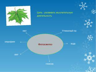 Фотосинтез лист глюкоза хлорофилл Углекислый газ вода свет Цель : развивать м