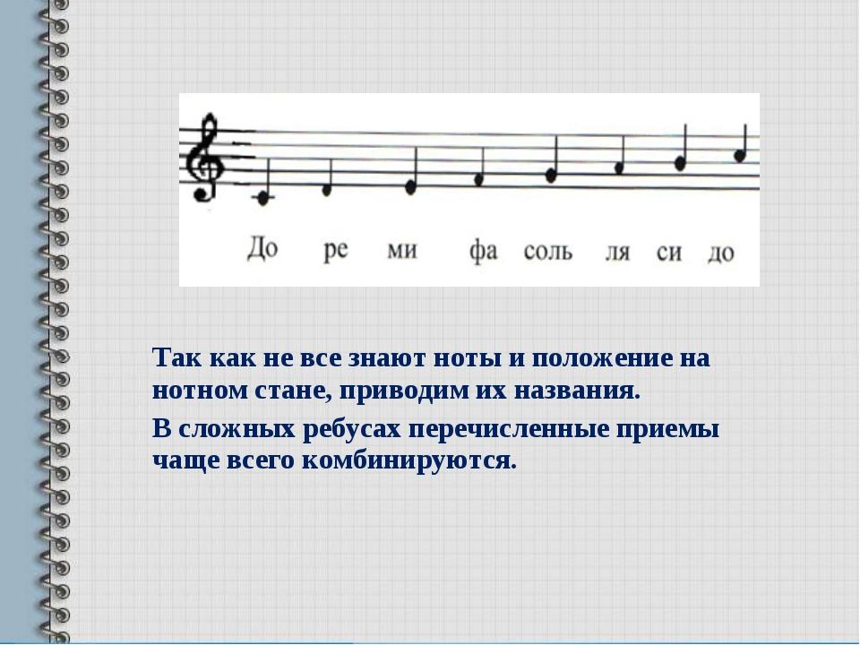 Так как не все знают ноты и положение на нотном стане, приводим их названия....