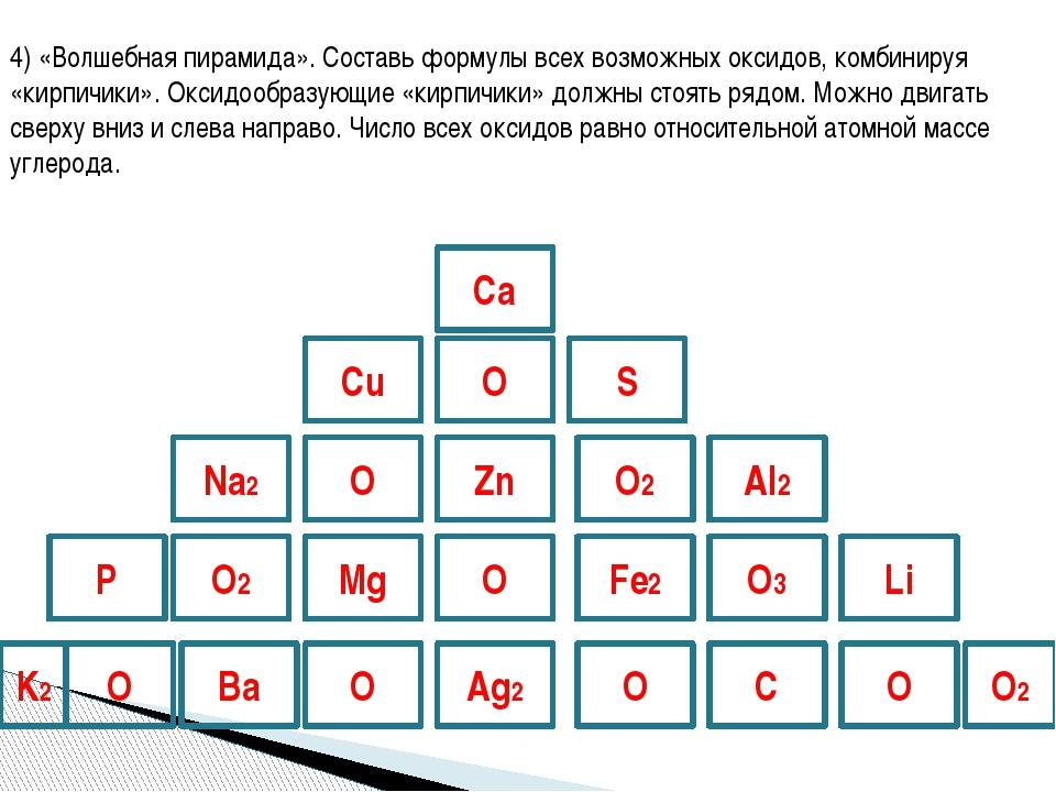 4) «Волшебная пирамида». Составь формулы всех возможных оксидов, комбинируя «...