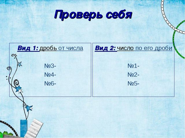 Проверь себя Вид 1: дробь от числа №3- №4- №6- Вид 2: число по его дроби №1-...