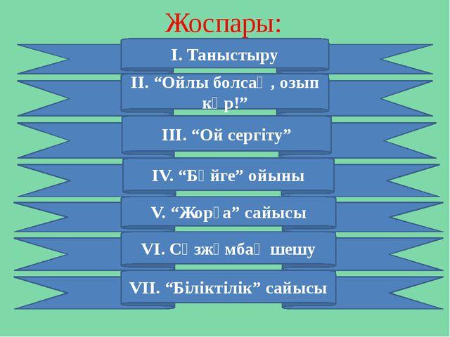 """Жоспары: І. Таныстыру ІV. """"Бәйге"""" ойыны VІІ. """"Біліктілік"""" сайысы ІІ. """"Ойлы бо..."""