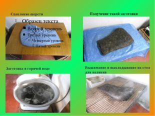 Сцепление шерсти Получение такой заготовки Заготовка в горячей воде Выжимание