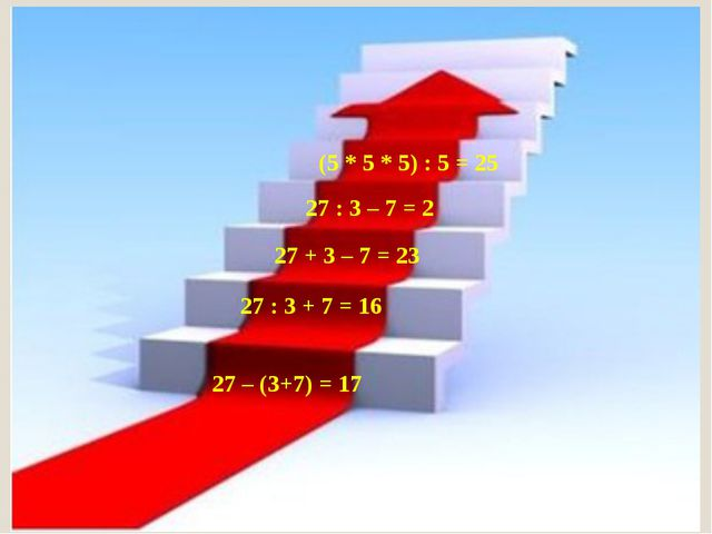 27 – (3+7) = 17 27 + 3 – 7 = 23 27 : 3 – 7 = 2 (5 * 5 * 5) : 5 = 25 27 : 3 +...