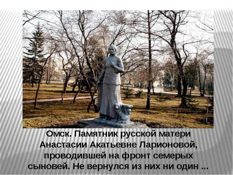 Омск. Памятник русской матери Анастасии Акатьевне Ларионовой, проводившей на...
