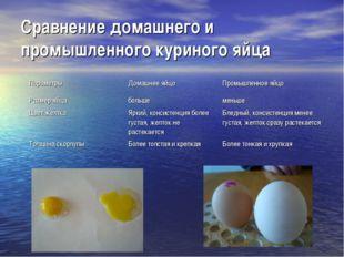 Сравнение домашнего и промышленного куриного яйца ПараметрыДомашнее яйцоПро