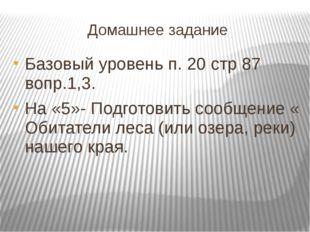 Домашнее задание Базовый уровень п. 20 стр 87 вопр.1,3. На «5»- Подготовить с