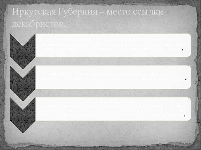 Иркутская Губерния – место ссылки декабристов.
