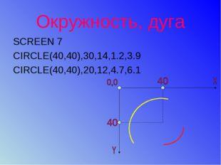 Окружность, дуга SCREEN 7 CIRCLE(40,40),30,14,1.2,3.9 CIRCLE(40,40),20,12,4.7