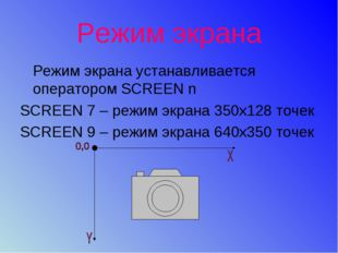 Режим экрана Режим экрана устанавливается оператором SCREEN n SCREEN 7 – режи