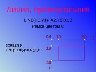 Линия, прямоугольник LINE(X1,Y1)-(X2,Y2),С,В Рамка цветом С SCREEN 9 LINE(10,