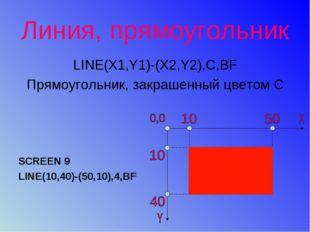 Линия, прямоугольник LINE(X1,Y1)-(X2,Y2),С,ВF Прямоугольник, закрашенный цвет