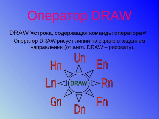 """Оператор DRAW DRAW"""""""" Оператор DRAW рисует линии на экране в заданном направле..."""