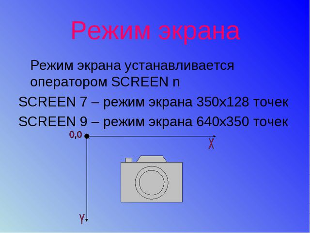 Режим экрана Режим экрана устанавливается оператором SCREEN n SCREEN 7 – режи...