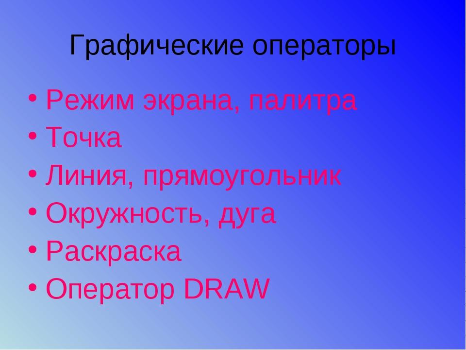 Графические операторы Режим экрана, палитра Точка Линия, прямоугольник Окружн...