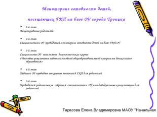 Мониторинг готовности детей, посещающих ГКП на базе ОУ города Троицка 1-й эта
