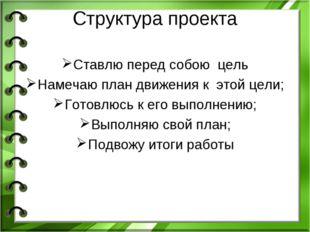 Структура проекта Ставлю перед собою цель Намечаю план движения к этой цели;