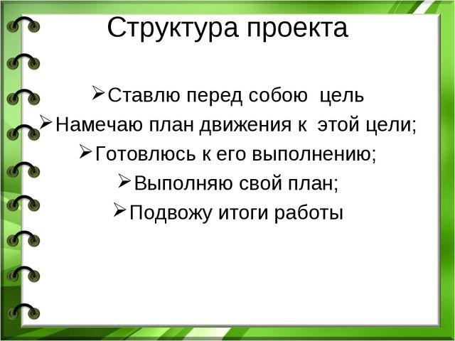 Структура проекта Ставлю перед собою цель Намечаю план движения к этой цели;...