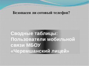Сводные таблицы: Пользователи мобильной связи МБОУ «Черемшанский лицей» Безоп