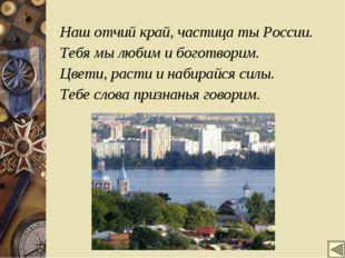 Наш отчий край, частица ты России. Тебя мы любим и боготворим. Цвети, расти и