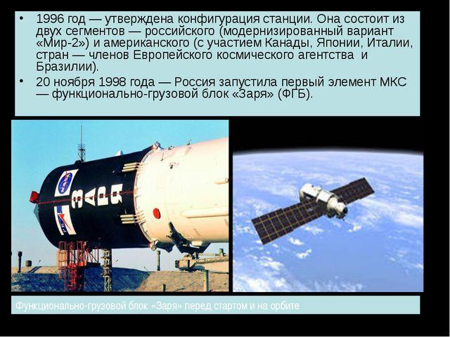 1996 год — утверждена конфигурация станции. Она состоит из двух сегментов — р...