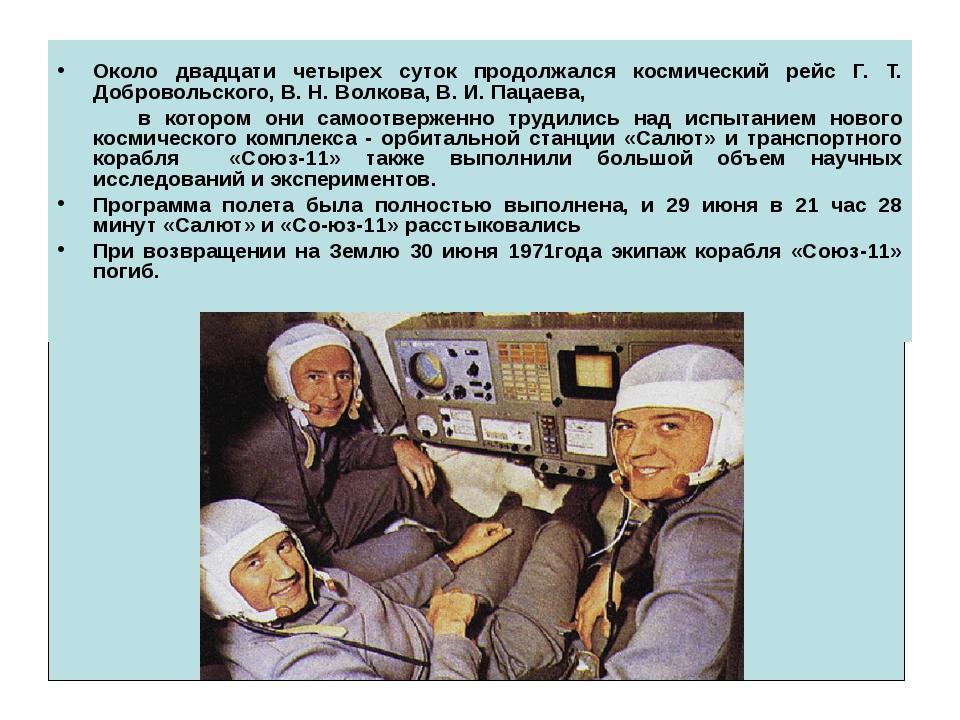 Около двадцати четырех суток продолжался космический рейс Г. Т. Добровольско...