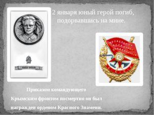 Приказом командующего Крымским фронтом посмертно он был награжден орденом Кра