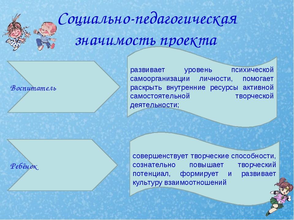 Социально-педагогическая значимость проекта Ребёнок Воспитатель развивает уро...