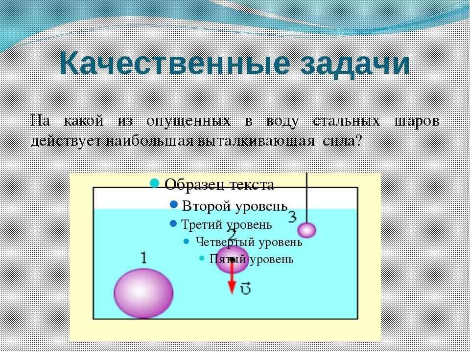 Качественные задачи На какой из опущенных в воду стальных шаров действует наи...