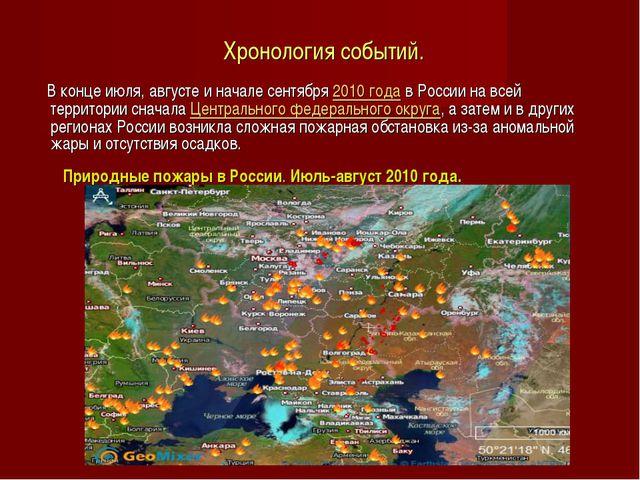 Хронология событий. В конце июля, августе и начале сентября 2010 года в Росси...