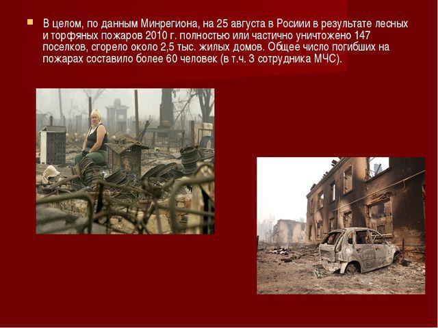 В целом, по данным Минрегиона, на 25 августа в Росиии в результате лесных и т...