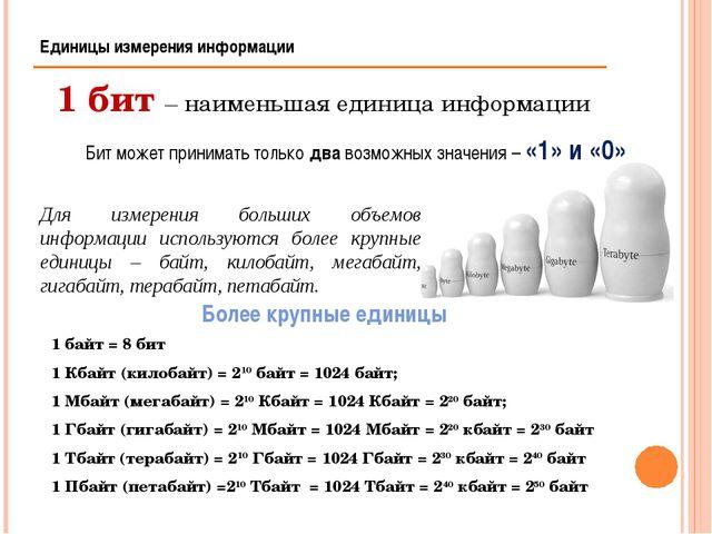 1 байт = 8 бит 1 Кбайт (килобайт) = 210 байт = 1024 байт; 1 Мбайт (мегабайт)...