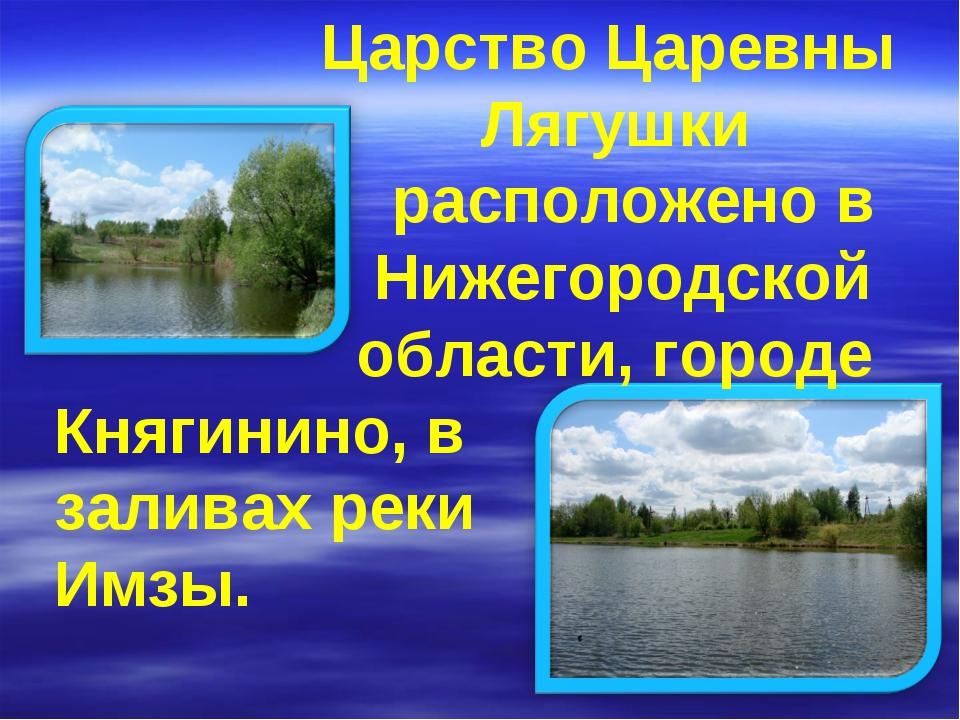 Царство Царевны Лягушки расположено в Нижегородской области, городе Княгинин...