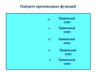 Найдите производные функций Правильный ответ Правильный ответ Правильный отве