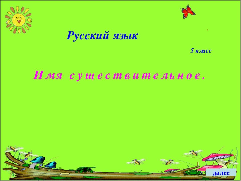 Русский язык Имя существительное. 5 класс далее