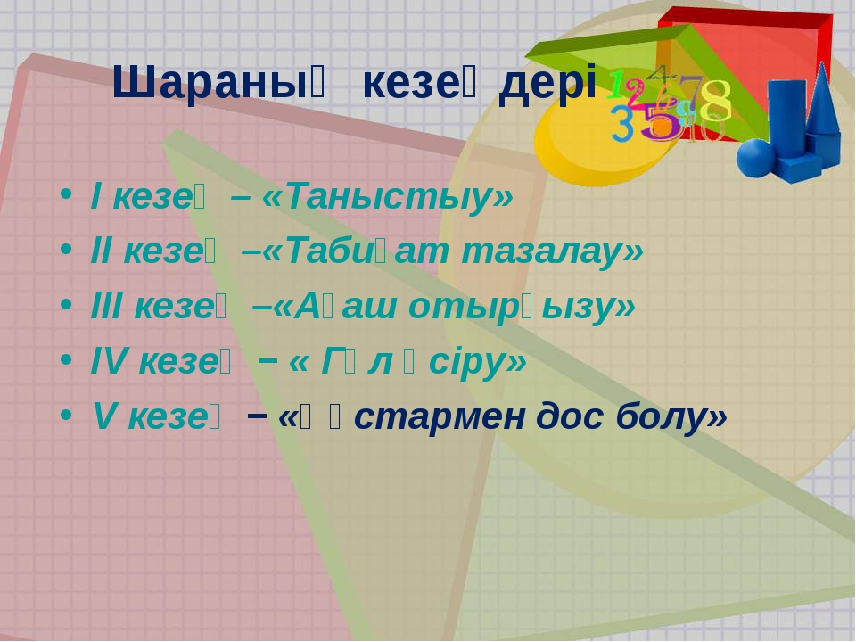 Шараның кезеңдері І кезең – «Таныстыу» II кезең –«Табиғат тазалау» III кезең...