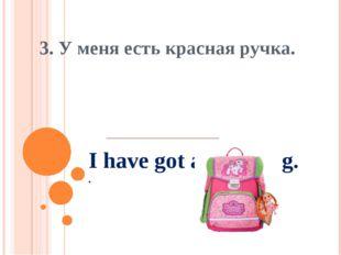 I have got a pink bag. . 3. У меня есть красная ручка.