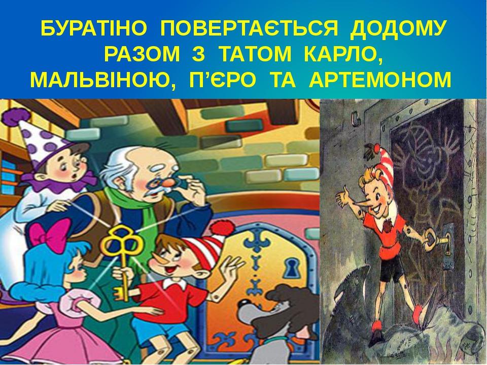 БУРАТІНО ПОВЕРТАЄТЬСЯ ДОДОМУ РАЗОМ З ТАТОМ КАРЛО, МАЛЬВІНОЮ, П'ЄРО ТА АРТЕМОНОМ