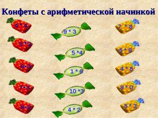 Конфеты с арифметической начинкой 5 2 6 3 7 3 8 2 9 * 3 5 *4 1 * 6 10 *3 4 *