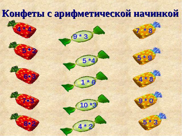 Конфеты с арифметической начинкой 5 2 6 3 7 3 8 2 9 * 3 5 *4 1 * 6 10 *3 4 *...