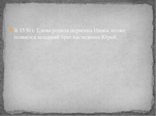 В 1530 г. Елена родила первенца Ивана, позже появился младший брат наследника