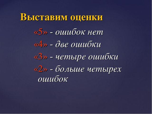 «5» - ошибок нет «4» - две ошибки «3» - четыре ошибки «2» - больше четырех ош...
