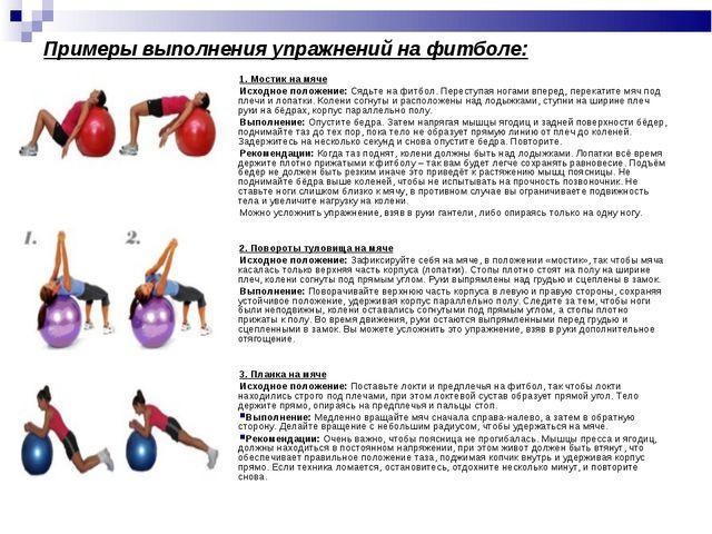 Примеры выполнения упражнений на фитболе: 1. Мостик на мяче Исходное положени...