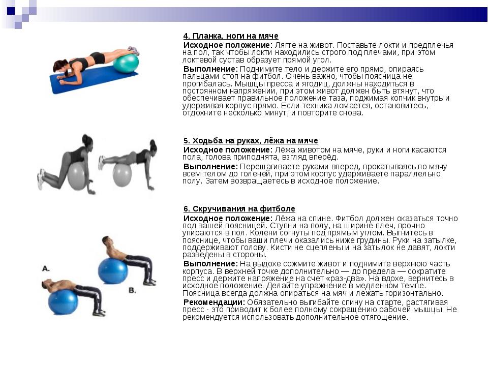 4. Планка, ноги на мяче Исходное положение:Лягте на живот. Поставьте локти...