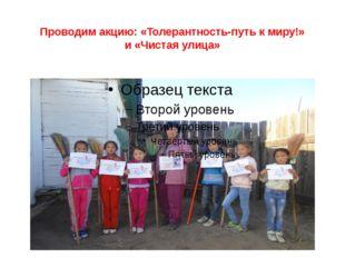 Проводим акцию: «Толерантность-путь к миру!» и «Чистая улица»