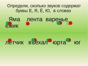 Определи, сколько звуков содержат буквы Е, Я, Ё, Ю, в словах Яма лента варень