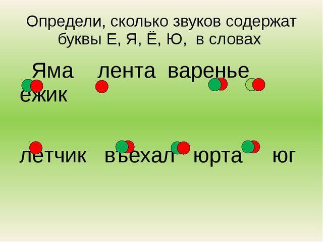 Определи, сколько звуков содержат буквы Е, Я, Ё, Ю, в словах Яма лента варень...