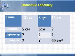 Заполни таблицу: длина 12 см 3 дм 15 см ширина 5 см 6см ? периметр ? ? ? площ