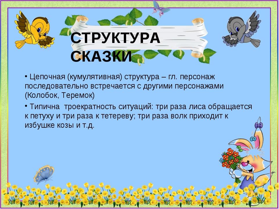 СТРУКТУРА СКАЗКИ Цепочная (кумулятивная) структура – гл. персонаж последовате...